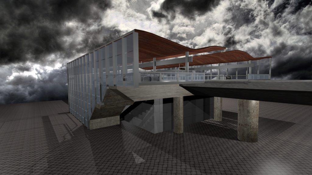 3D rendering of Lansdowne Mall Skytrain Station