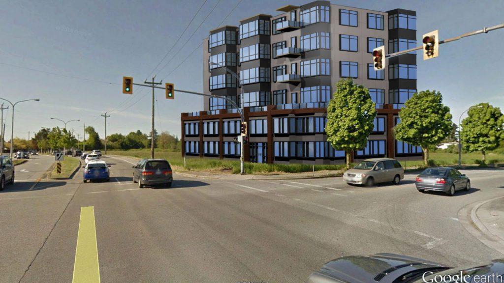 3D rendering of a Condo development at Garden City and Capstan Way Richcmond