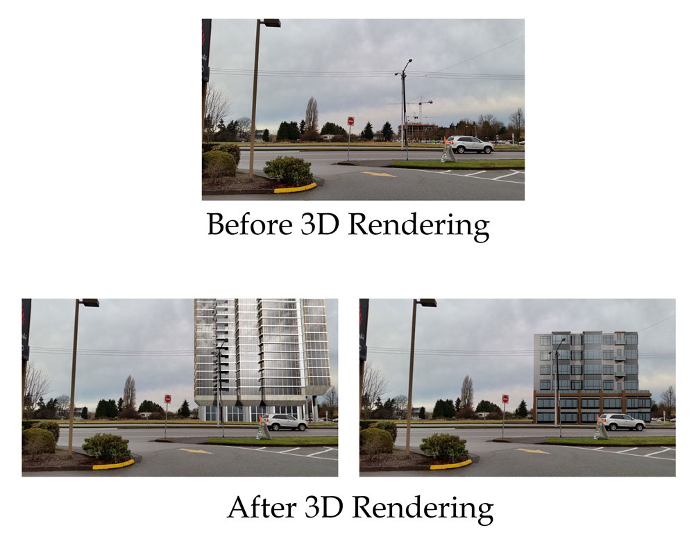 Before 3D Rendering, and After 3D Rendering