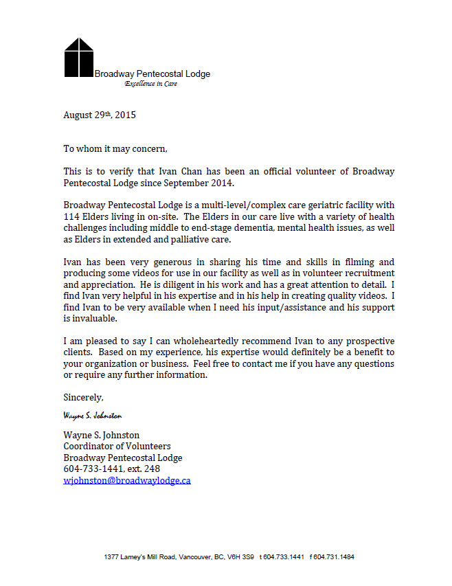 Letter of recognition for sharing the video skills for the elder place