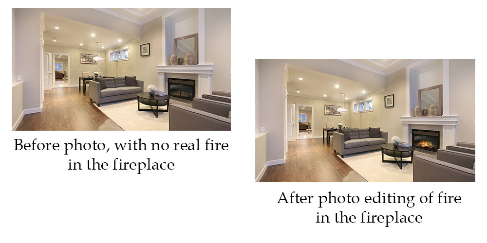 Before photo editing of an unlit fireplace, and after photo editing fire in the fireplace